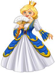 Queen wearing blue gown