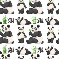 Seamless panda and bamboo