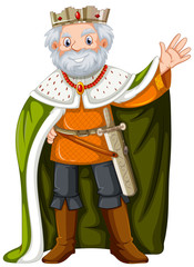 King with green robe