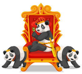 Three pandas at the throne