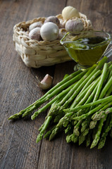 Asparagus with garlic and olive oil for cooking