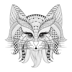 Zentangle Hand drawn Cat face for adult antistress coloring page