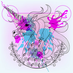 Hand drawn vector magic unicorn for adult coloring page in zenta