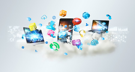 Tech devices and icons applications over a cloud