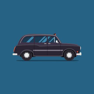 vector modern flat design. blackTaxi car London. City service transport icon