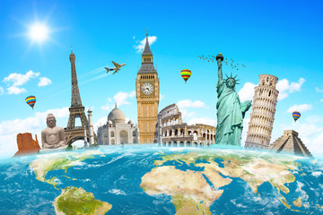 Famous landmarks of the world surrounding planet Earth