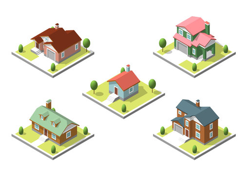 isometric buildings set. Flat style. Vector illustration Urban and Rural Houses collection.