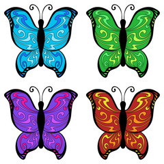 Abstract butterfly color blue red yellow green pink violet pattern illustration vector