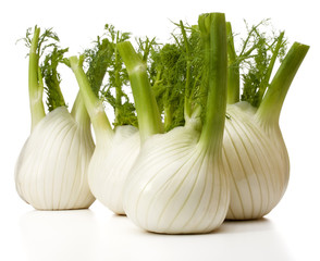 Fresh fennel bulb isolated on white background close up