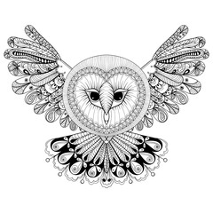 Coloring page with Owl, zentangle hand drawing illustration, tri
