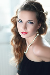 Retro portrait of beautiful woman