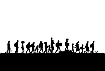 Silhouette of refugees people walking