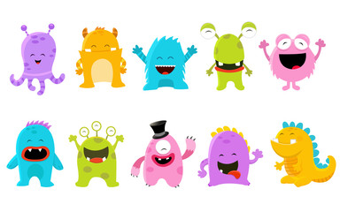 Cute Monster Set Illustration