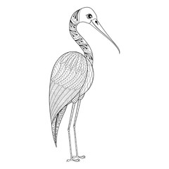 Zentangle Hand drawn Stork for adult antistress coloring pages,