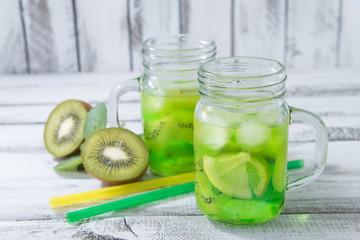 homemade lemonade with  kiwi