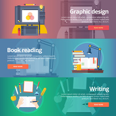 Graphic design. Digital painting. Book reading. Hand writing. Calligraphy skill. Library. Education banners set. Vector design concept.