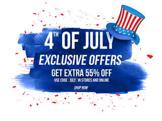 Sale Poster, Sale Banner, 55% Discount Offer for 4th of July.