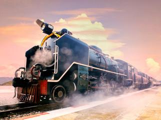 steam locomotive trains in railways station platform preparing t