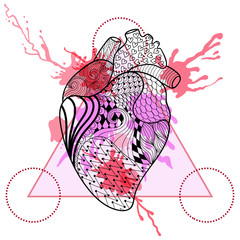 Zentangle stylized Human heart in triangle frame with watercolor