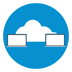 Two computers laptop connected cloud icon.