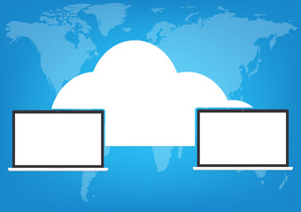 Two computers laptop connected cloud on world map blue background