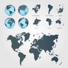 Aluminium Prints World Map World Map with Globes detailed editable. Vector illustration.