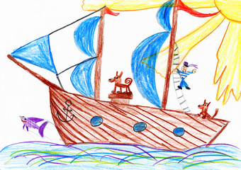 sailor and a dog traveling on a sailboat - child drawing picture on paper