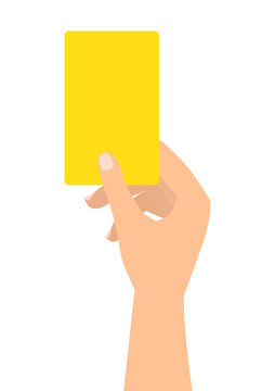 Football soccer referee hand with yellow card on white background