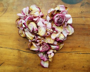 Heart shape made from pink rose petals