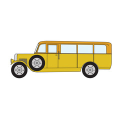 Yellow retro bus. Old vintage retro bus. Vector cartoon retro bus. Retro bus with optional spare wheel.