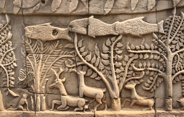 Wall carving of Prasat Bayon Temple, Angkor Wat complex, Siem Re