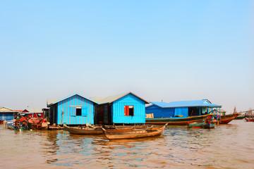 Houseboats in floating village, Tonle Sap lake, Cambodia
