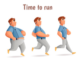 Evolution Slimming men, cartoon illustration of three men of different obesity running, fat, fatness, sports people, the desire for healthy and sporty body, fitness exercises for weight loss