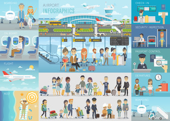 Airport Infographic set with charts and other elements.