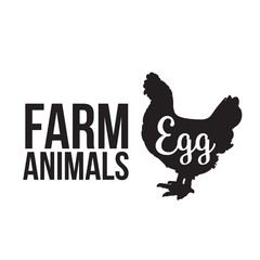 Black contour farm animal with a white lettering inscription inside, Logo Chicken animal, outline for the product, illustration contour farming Chicken with lettering on the fowl food