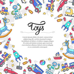 Cute decorative cover with hand drawn colored toys for boys