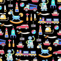 Vector seamless pattern with hand drawn colored toys for boys on black color