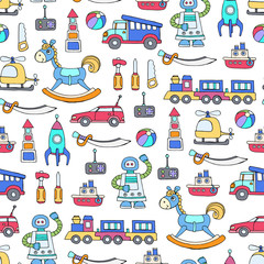 Vector seamless pattern with hand drawn colored toys for boys