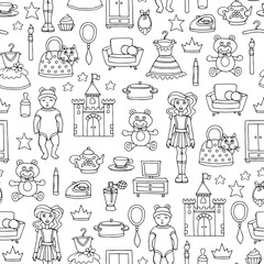 Vector seamless pattern with hand drawn toys for girls on white color