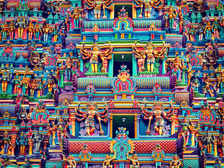 Sculptures on Hindu temple tower Wall mural