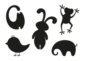 Set of black stylized silhouettes of animals and bird