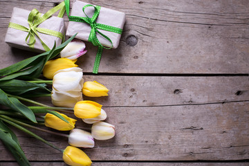 Bright yellow and white spring tulips and box with presents on a