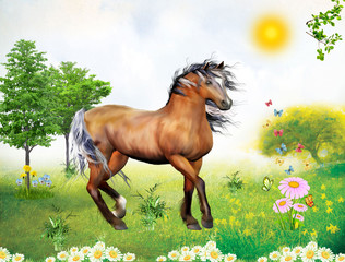 Illustration of brown wild horse on a beautiful solar glade. Children's illustration