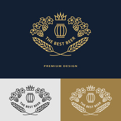 Line graphics monogram. Logo design frame ornament template with barrel, hops, malt, leaves for logos, labels, emblems for beer house, bar, pub, brewing company, brewery, tavern. Vector illustration