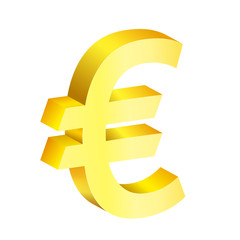 Image of a golden euro on a white background.
