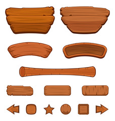 Set of cartoon wooden buttons with different shapes for game