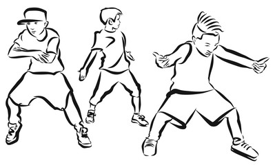 Three Boys, coloring Page, Hip Hop Choreography