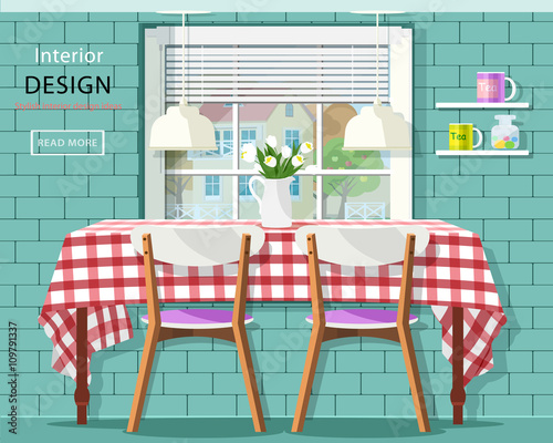 Stylish Vintage Dining Room Interior: Dinner Table With Checkered  Tablecloth, Window With Jalousie And