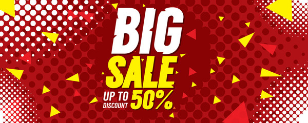 Big Sale 50 Percent 6250x2500 pixel Banner Vector Illustration.
