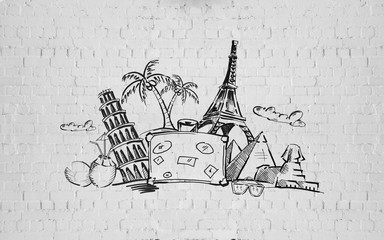 drawing of travel stuff and touristic landmarks